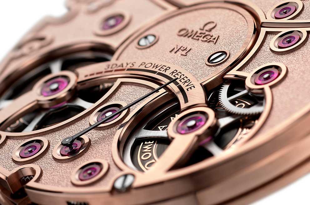 Omega De Ville Tourbillon Numbered Edition - detailní pohled na indikátor třídenní rezervy chodu