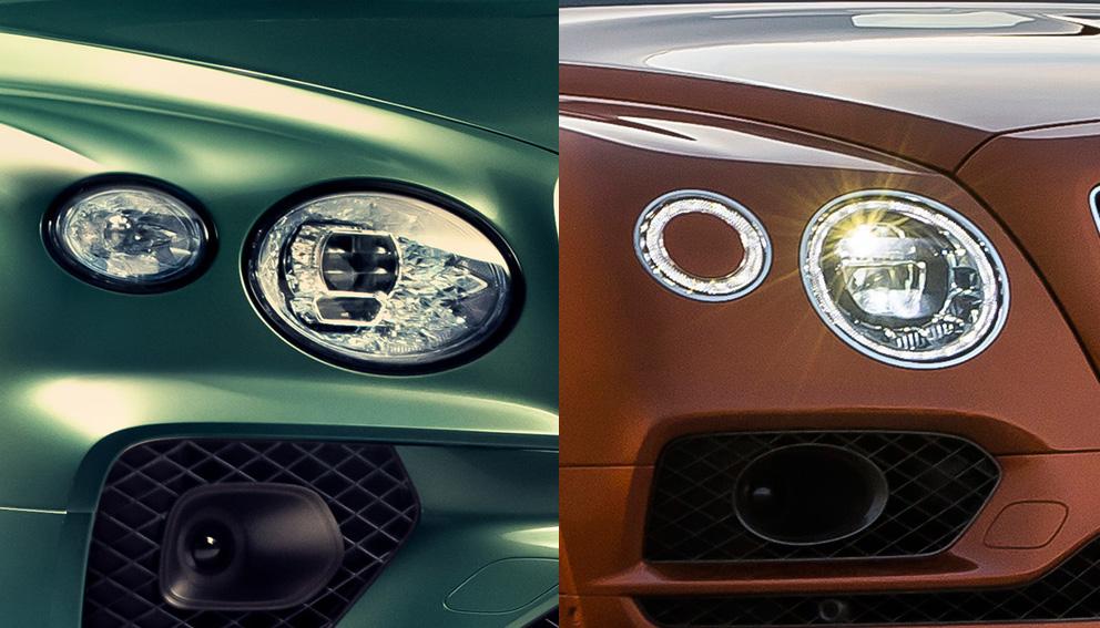 Vlevo Bentley Bentayga po faceliftu 2020