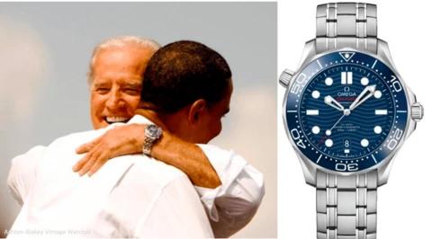 Hodinky Omega Seamaster na zápěstí viceprezidenta Joea Bidena v objetí s americkým prezidentem Barackem Obamou