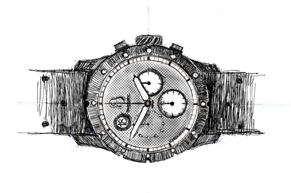 Skica hodinek Minor od české manufaktury Bohematic