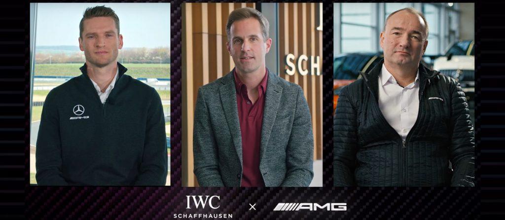 Ambasador značky IWC Maro Engel, generální ředitel IWC Christoph Grainger-Herr a generální ředitel Mercedes-AMG Philipp Schiemer
