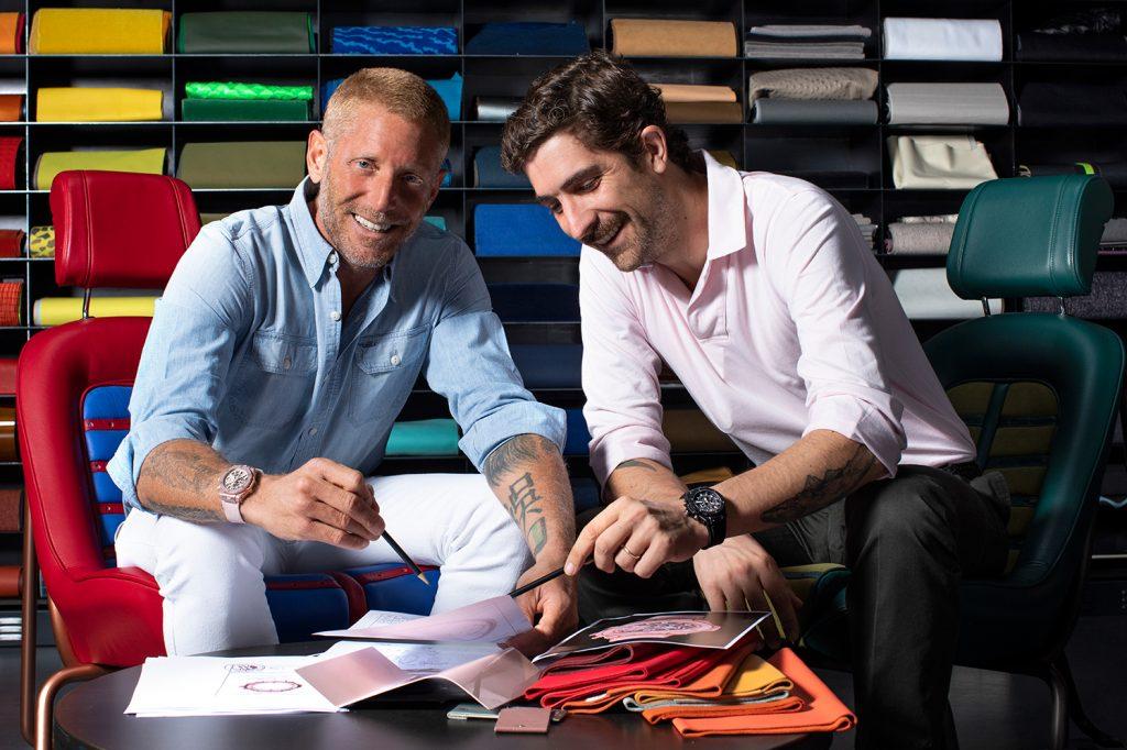 Lapo Elkann, zakladatel a tvůrčí předseda Garage Italia, a Carlo Borromeo, CEO Hublot, pracují na vývoji hodinek Big Bang Millennial Pink