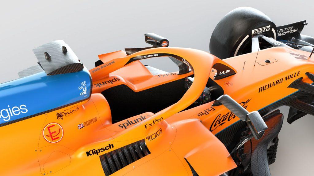 Logo Richard Mille na monopostu MCL35M týmu McLaren