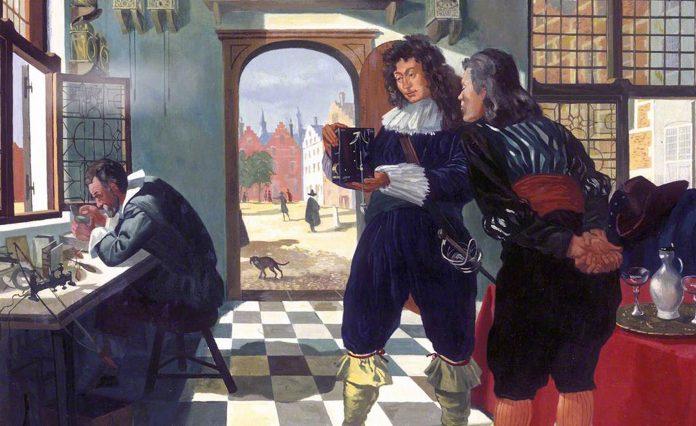 Portrét Salomona Costera nám historie nezachovala. Musíme proto vzít zavděk obrazem britského malíře Hugha Chevinse zroku 1955, naněmž umělec ztvárnil návštěvu Christiaana Huygense ajeho neznámého přítele vCosterově dílně.