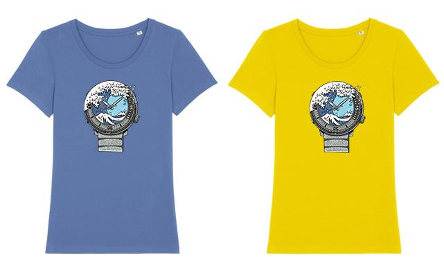 Bavlněná trička jsou k dispozici v dámských velikostech XS-XXL v zářivě žluté a šmolkově modré barvě