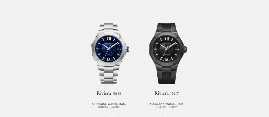 Vrcholem páté generace Riviery jsou dvě reference s průměrem ocelového pouzdra 42 mm. Skrze safírové dýnko je viditelný Baumatic in-house caliber, the Riviera 10616 s pětidenní rezervou chodu.