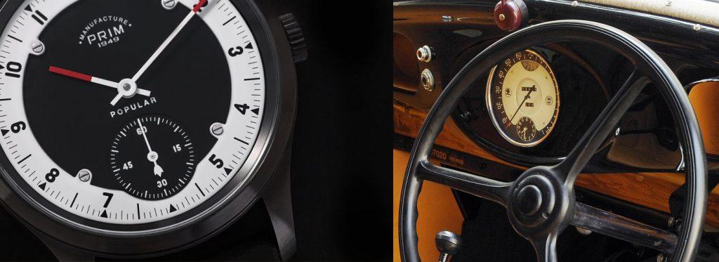 Číselník hodinek PRIM Popular L.E. je věrnou kopií ukazatele rychlosti na přístrojové desce Škody Popular